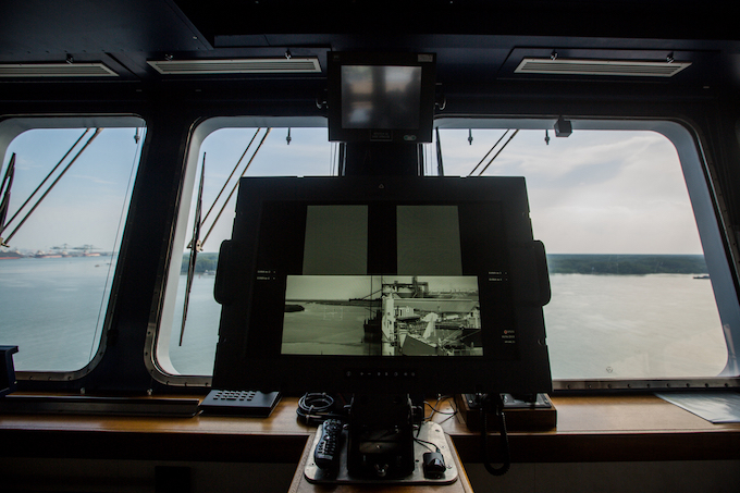 The camera system provides feed on every corner of the ship.