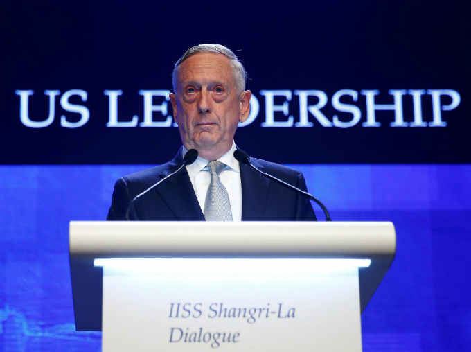 U.S. Secretary of Defence Jim Mattis speaks at the IISS Shangri-la Dialogue in Singapore June 2, 2018. Photo by Reuters/Edgar Su