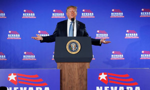 Trump defends policies on border, North Korea in visit to Las Vegas