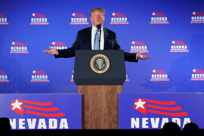 Trump defends policies on border, North Korea in visit to Las Vegas