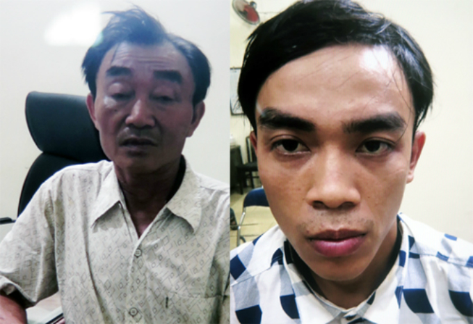 Nguyen Khanh (L) and his son Nguyen Tuan Thanh who were allegedly involved in the bombing plot.