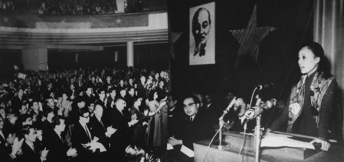 Nguyen Thi Binh, Delegation Head from the National Liberation Front of Southern Vietnam, gave a speech at a Vietnameses welcoming meeting in Paris in December 1968. Photo courtesy of Vietnam National Museum of History.The delegation of the National Liberation Front of South Vietnam held a meeting at their headquarters in Verrières-le-Buisson (France) in December 1968. Photo courtesy of Vietnam National Museum of History.