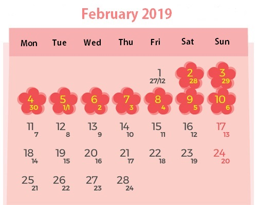 Schedule for 2019 Tet break. Illustrated by VnExpress/Tien Thanh