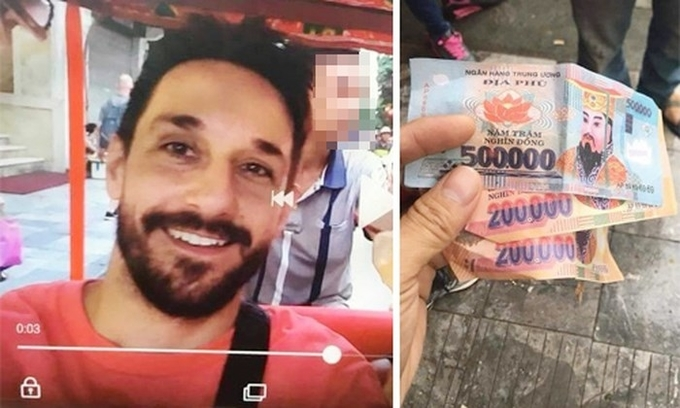 The French tourists accused cyclo rider for giving them fake money. Photo: Huu Phuc
