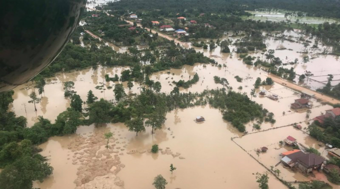 Aerial view shows the flooded area after a dam collapsed in Attapeu  province, Laos on July 25, 2018 in this image obtained from social  media. Photo handed out by Reuters.