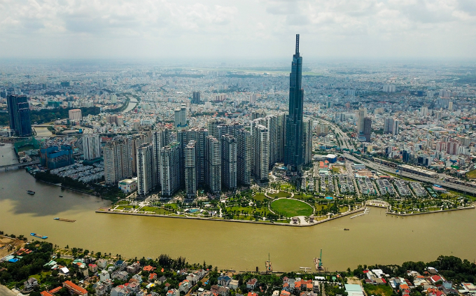 Saigons bird eye view from the tallest building in Vietnam