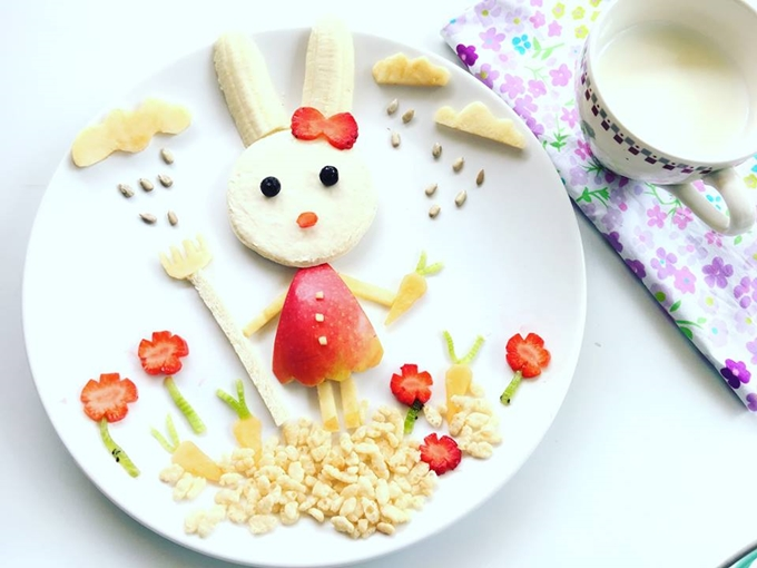 This bunny was an Easter zpecial, created from fruits and nuts.