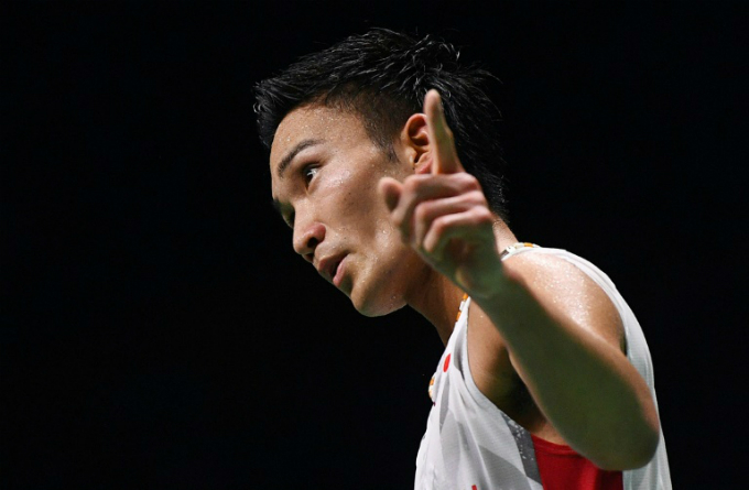 Number one: Kento Momota celebrates after defeating Shi Yuqi to win the world title on August 5. Photo by AFP/Johannes Eisele