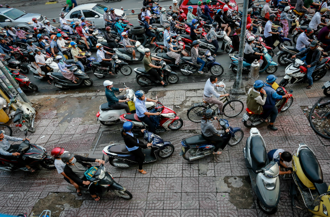 Motorbikes are a popular means of transport in Vietnams urban cities. Photo by VnExpress/Thanh Nguyen