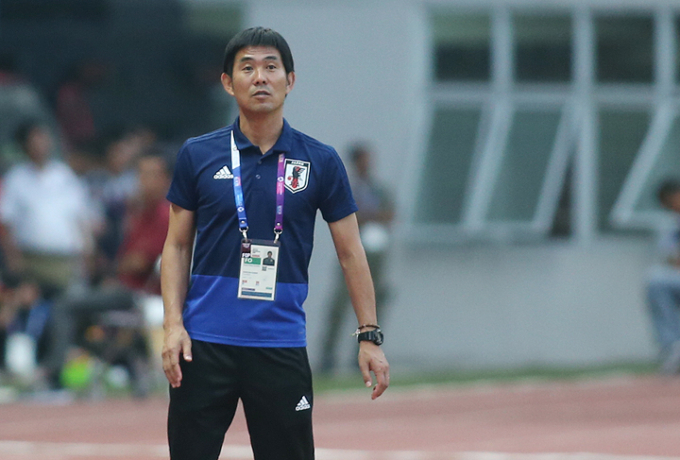 Moriyasu Hajime, the head coach of Japans men football team at Asiad 2018. Photo by VnExpress/Lam Thoa