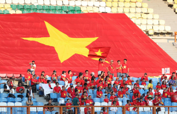 Vietnams fans at the stadium in West Java, Indonesia.