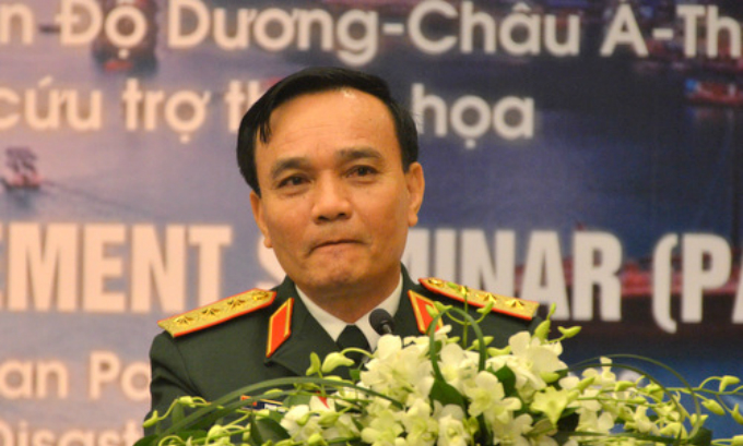 Colonel General Pham Hong Huong at the Pacific Armies Management Seminar in Hanoi on Monday. Photo by VnExpress/Vu Anh