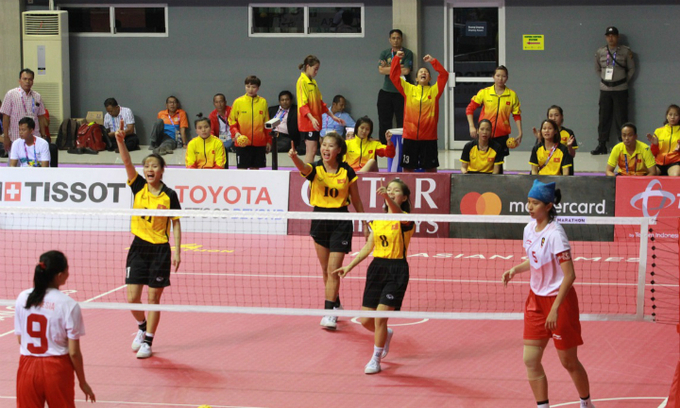 Vietnam women's rattan ball team in Asiad semis
