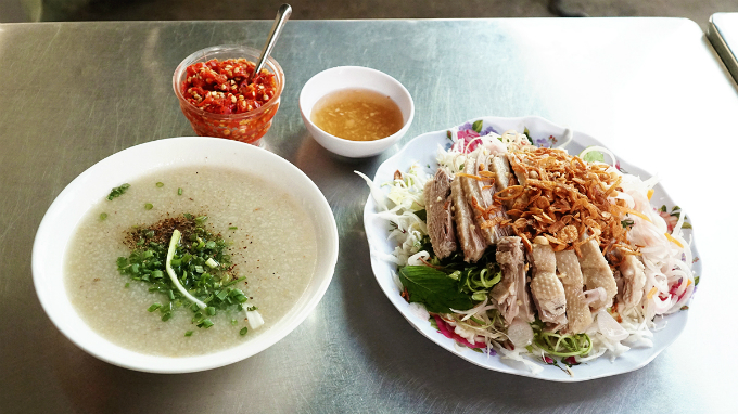 A serving of both congee and salad costs $2.66. You also have the option of ordering just the congee for just $1.29.