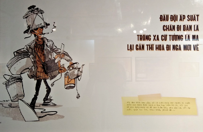 This cartoon accompanies a poem about people returning to Vietnam after being sent out on working contracts. When they returned, they would come with normal household items that they could sell and make some money. Even these items were difficult to get during the subsidy period. Photo by Bao Ngoc