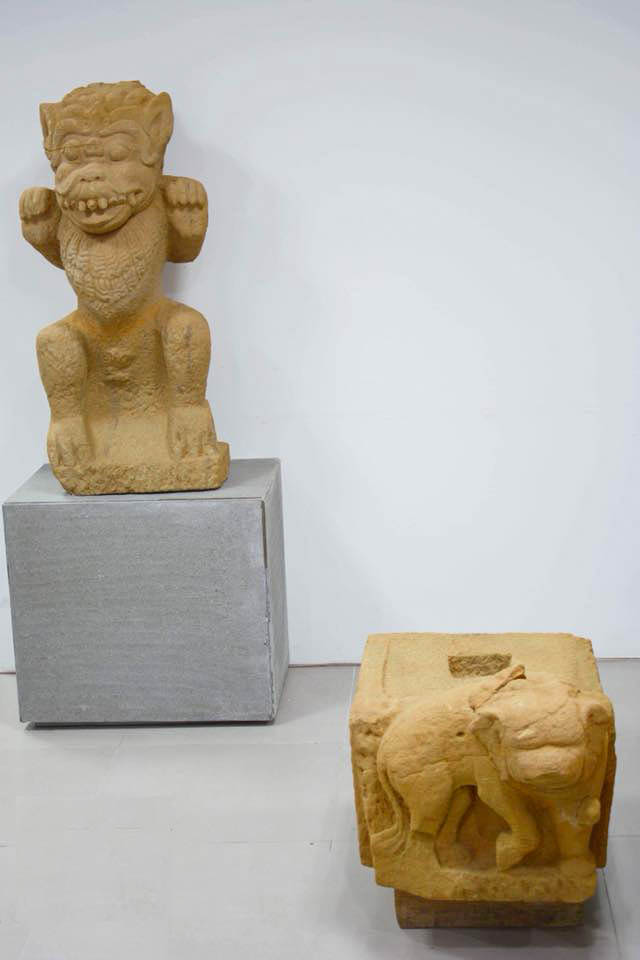 Stone artifacts dug up at the Phong Le excavation site. Photo: Da Nang Museum of Cham Sculpture.