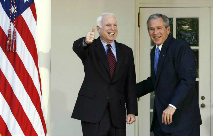President George W. Bush and presumptive Republican presidential nominee John McCain at the White House, March 2008. McCain had just scored victories in Texas, Ohio, Vermont and Rhode Island to complete his improbable comeback from the political graveyard and become his partys standard-bearer. Photo by Reuters/Kevin Lamar