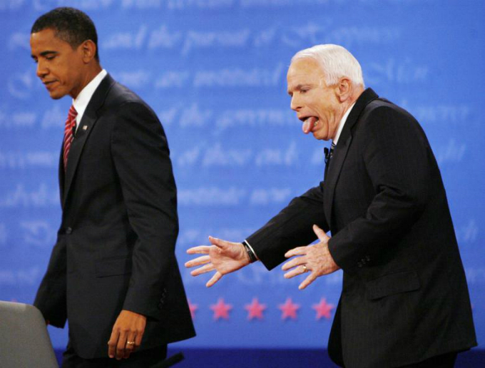 John McCain reacts to almost heading the wrong way off the stage after shaking hands with Democratic presidential nominee and Senator Barack Obama at the conclusion of the final 2008 presidential debate at Hofstra University in Hempstead, New York, October 2008. Photo by Reuters/Jim Bourg