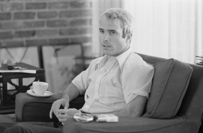 U.S. Navy Lt. Comdr. John McCain is interviewed about his experiences as a prisoner of war during the war in Vietnam, April 1973. Library of Congress/Thomas J. OHalloran/via Reuters