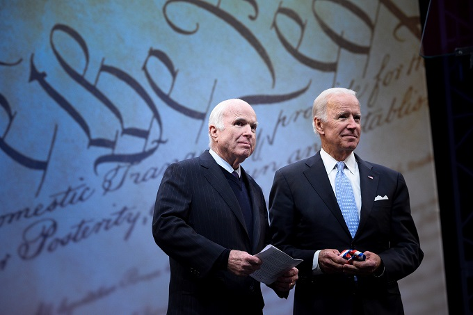 U.S. Senator John McCain (R-AZ) is awarded the 2017 Liberty Medal by former U.S. Vice President Joe Biden at the Independence Hall in Philadelphia, Pennsylvania, U.S., October 16, 2017. Photo by Reuters/Charles Mostoller
