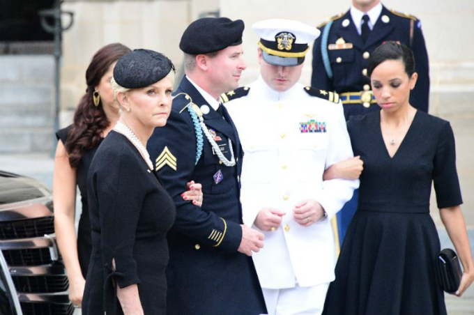 Senator John McCains widow and children attend the memorial service for the late warrior-turned-politician at the Washington National Cathedral on September 1, 2018 in Washington. Photo by AFP/Jim Watson