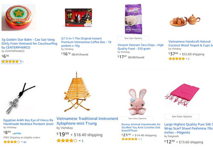 Some Vietnamese products among more than 20,000 items that Erik Frankel has listed on Amazon. Photo by Amazon.