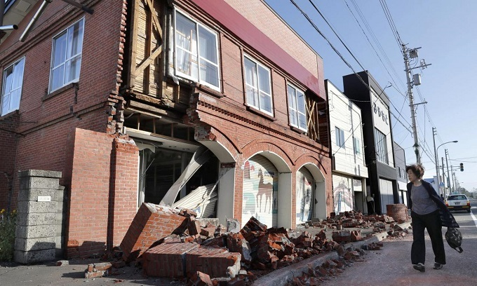 Japanese homes engulfed in landslide after powerful quake hits Hokkaido