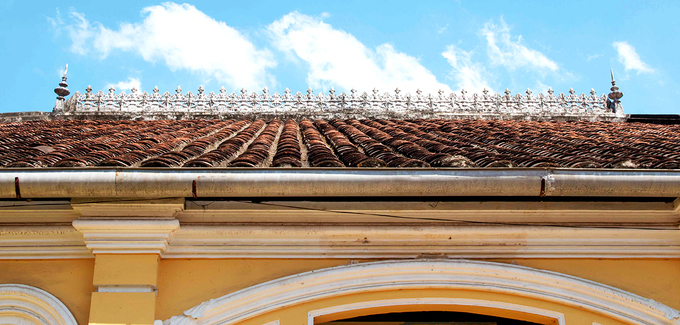 Yin-yang tile roofs bearing Asian architectural style.