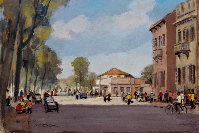 Pigment art depicts magical beauty of the fifties in Hanoi