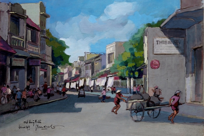 Pigment art depicts magical beauty of the fifties in Hanoi - 3