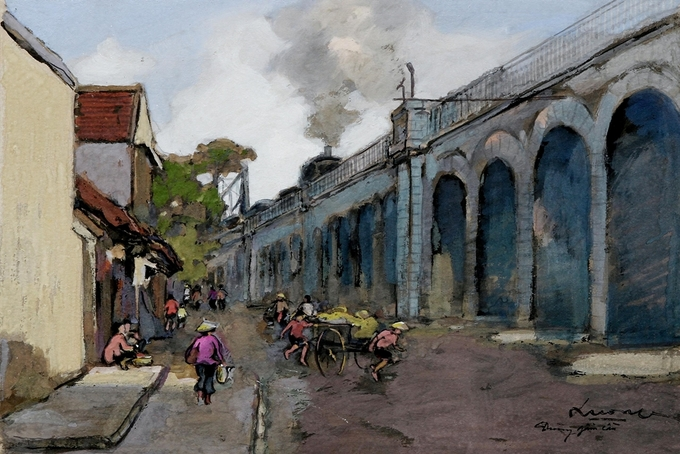 Pigment art depicts magical beauty of the fifties in Hanoi - 5