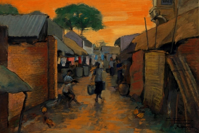 Pigment art depicts magical beauty of the fifties in Hanoi - 6