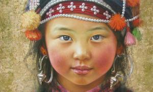 A little Vietnamese girl blushes on a California street