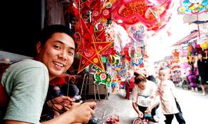 Lanterns, lanterns everywhere on a Saigon street