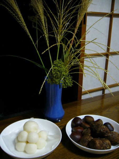 Dango cake and susuki grass. Photo courtesy of Katorisi on Wikipedia