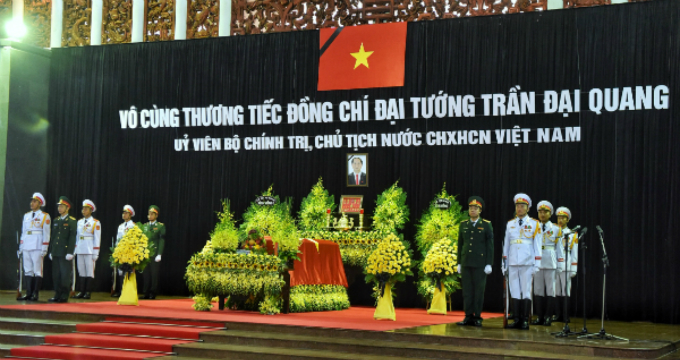 President Quang is lying in state at the National Funeral Home at 5 Tran Thanh Tong Street, Hanoi, for people to pay their respects.