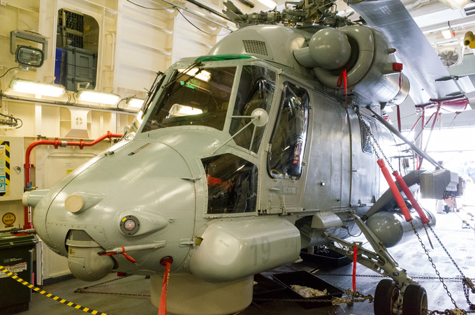 SH-2G Super Seasprite, a ship-based helicopter, helps to extend shipboard sensor and provides weapon capabilities against several types of enemy threats.