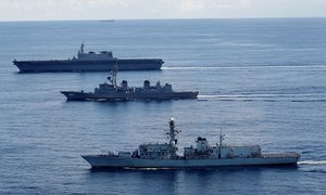 Japanese carrier drills with British warship heading to contested South China Sea