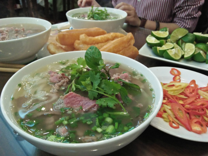 A bowl of Pho at a restaurant on Ly Quoc Su street, Hanoi. Photo by VnExpress/Bao Ngoc
