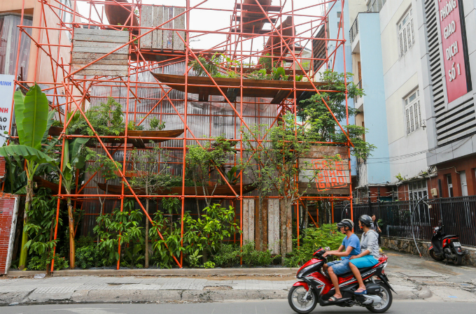 Is it a construction site? No, it is a café in Saigon