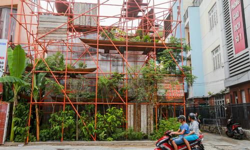 Is it a construction site? No, it is a café in Saigon