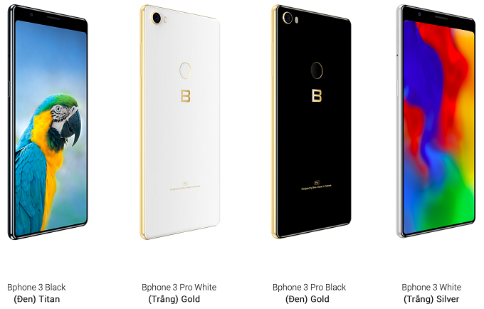 Bphone 3 comes in different colors. Photo courtesy of BKAV