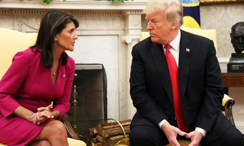 Trump's UN envoy Haley resigns, rules out 2020 run for office