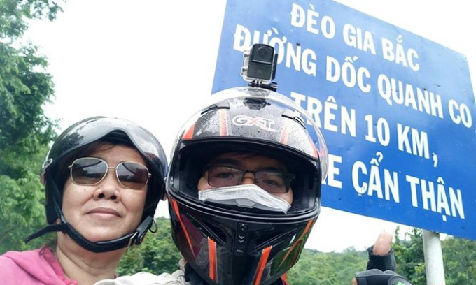 62-year-old woman, son travel across Vietnam by motorbike