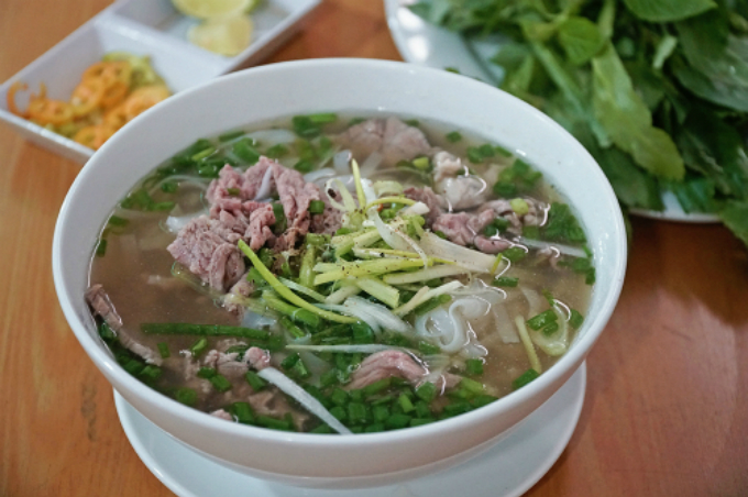 A bowl of Pho in Nams restaurant.