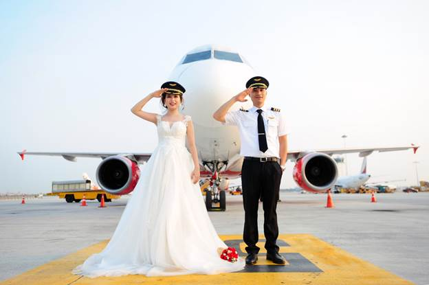 Captain Nguyen Phuong Anh and her husband.