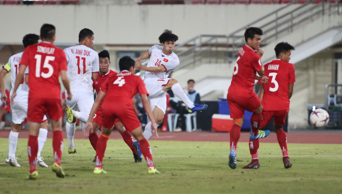 Nguyen Cong Phuong scores a goal for Vietnam.