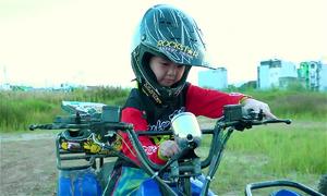 Daredevil daughter rides dirt bike around with dad