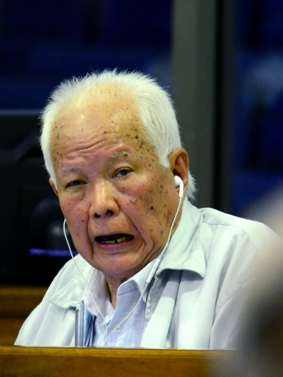 Khmer Rouge former head of state Khieu Samphan, 87 -- seen here in 2017 -- and his co-defendant are the two most senior living members of the group. Photo by AFP/Mark Peters