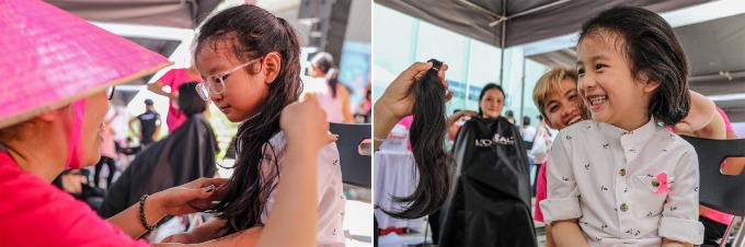 4-year-old An Nhien donating her hair at the festivals hair donation booth. Photo by VnExpress/Thanh Nguyen